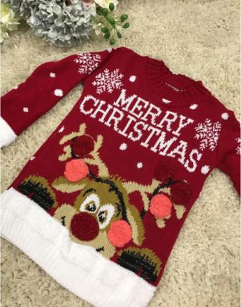 Merry Christmas - Rød Julegenser til Barn med Rudolf-Motiv