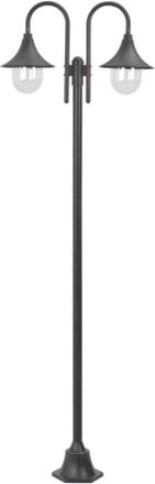 vidaXL Lyktstolpe för trädgård E27 220 cm aluminium 2 lyktor brons