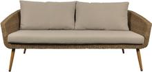 Pokoon loungemøbel udendørssofa, 3 personers inkl. hynder natur/beige.