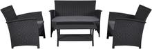 Lissy loungemøbel sofasæt, inkl. hynder sort/grå.
