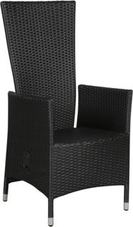 Jecy 1 x havestol, med pumpe og trinløs indstillelig ryg, sort.