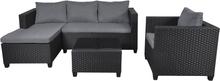 Tina loungemøbel sofasæt, inkl. hynder sort/grå.