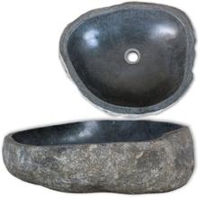 vidaXL Handfat flodsten oval 38-45 cm