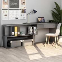 vidaXL Hjørneskrivebord høyglans grå 200x50x76 cm sponplate