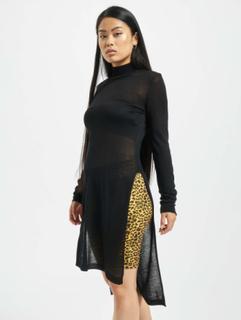 Urban Classics Kvinder Trøjer Urban Classics Ladies Fine Knit Turtleneck Long Shirt i sort, L