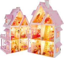 Sunshine Alice DIY Villa Doll House Wooden 3D Lights Miniature Dollhouse Furniture Puzzle Kit Toys for Children Christmas Gift