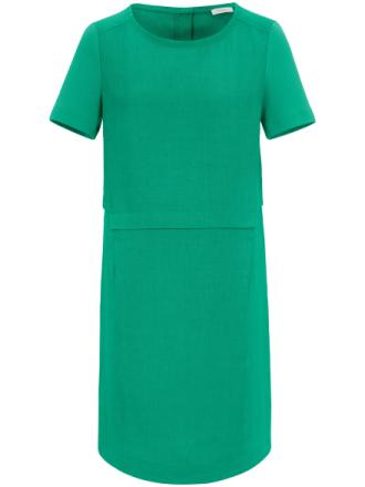 Kortärmad klänning i linne från Riani grön