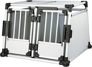 Trixie Transportbur Aluminium dobbelt - Størrelse M-L: B 93 x L 88 x H 64 cm