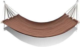 vidaXL hængekøje med stang 210 x 150 cm brun