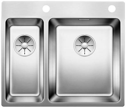 Blanco Andano 340/180-IF/A højre MXI Køkkenvask 58,5x50 cm m/InFino kurveventil, Rustfrit stål
