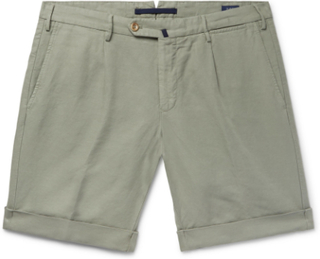 Slim-fit Garment-dyed Linen And Cotton-blend Shorts - Sage green