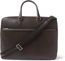 Pebble-grain Leather Briefcase - Dark brown