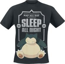 Pokémon - Snorlax - Sleep All Night -T-skjorte - svart