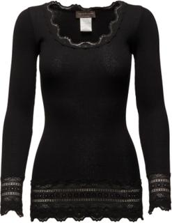 Silk T-Shirt Medium Ls W/Wide Lace T-shirts & Tops Long-sleeved Svart Rosemunde