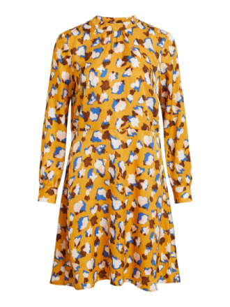 VILA Patterned Long Sleeved Dress Women Yellow