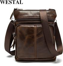WESTAL Messenger Bag Men's Shoulder Genuine Leather bags Flap Small male man Crossbody bags for men natural Leather bag M701