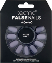 Technic False Nails Almond Matte Grey 24 stk