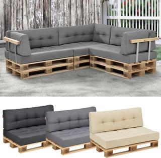 [en.casa]® Sittdyna till lastpallar-Ljusgrå-inom/utomhusbruk-120x80x15cm