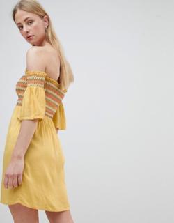 Flerfarvet rynket solskins-bardotkjole fra Brave Soul-Hvid