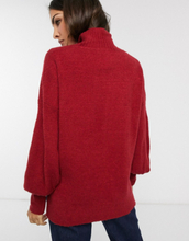 French Connection Orla Flossy balloon sleeve high neck jumper in wool blend-Red