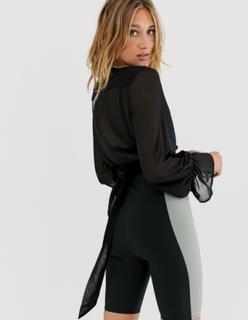 NA-KD balloon sleeve chiffon blouse in black