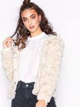 Vero Moda Vmcurl Hoody Faux Fur Short Jacket Faux Fur Ljus Grå