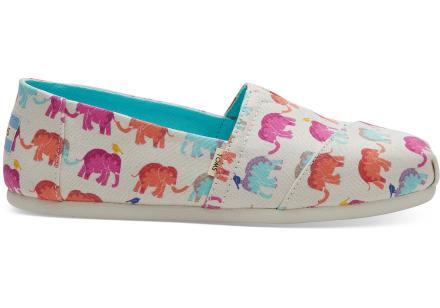 TOMS Schuhe Elefanten Print Canvas Classics Für Damen - Größe 39