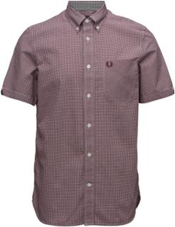 Classic Gingham Shirt Kortærmet Skjorte Brun Fred Perry