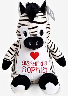Zebra mjukisdjur med namn, 40 cm