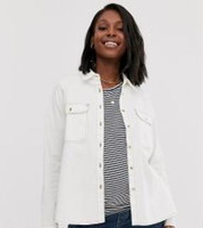 ASOS DESIGN Maternity - Vit jeansskjorta med avslappnad passform - Vit