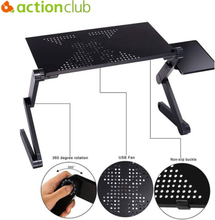 Actionclub Adjustable Laptop Table Portable Foldable Computer Desk On Bed Laptop Stand Tray Desk With Cooling Fans Mouse Pad