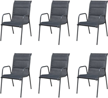 vidaXL stabelbare havestole 6 stk. stål og textilene sort