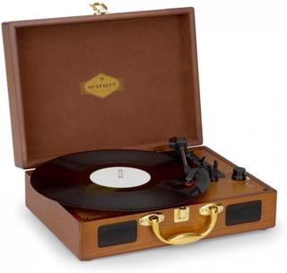 Nostalgy by auna Peggy Sue Retro-Skivspelare LP USB AUX trä/guld-Optik