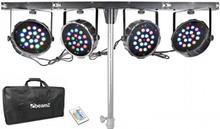 PARBAR 4-vägs Kit 186 x 1W RGBW LEDs DMX T-balk transportväska