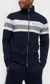 Gant D1.Gant Stripe Sweat Zip Through Trøjer Blue