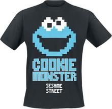 Sesam Stasjon - Cookie Monster 8 Bit -T-skjorte - svart