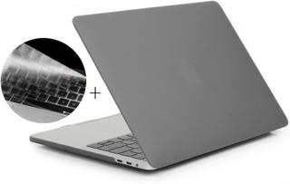 HAT PRINCE Macbook pro 13 no touchbar beskyttelses deksel og tastatur beskyttelse av silikon med matt overflate - grå