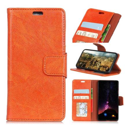 Huawei Honor 10 Lite beskyttelses deksel av behandlet kuskinn med slitt tekstur - oransj