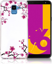 IMD Samsung Galaxy J6 beskyttelses deksel av silikon med printet bilde - rosa blomster
