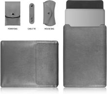 MacBook Pro 15 Touchbar beskyttelses veske av syntetisk skinn - grå