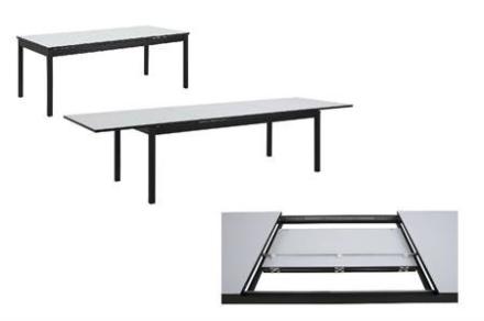 Mosel spisebord hvid INDBYGGET UDTRÆK