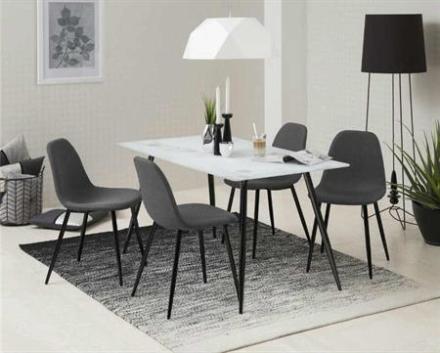 View - billig stol i grå stof på sorte ben
