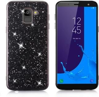 Samsung Galaxy J6 beskyttelses deksel av TPU med glitter paljett - svart