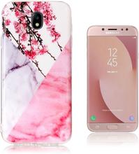 Samsung Galaxy J7 IMD beskyttelses deksel av TPU med marmor mønster - plumme