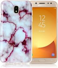 Samsung Galaxy J5 IMD beskyttelses deksel av TPU med marmor mønster - rose