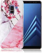Samsung Galaxy A8 IMD beskyttelses deksel av TPU med marmor mønster - hvit og rosa marmor med blomster