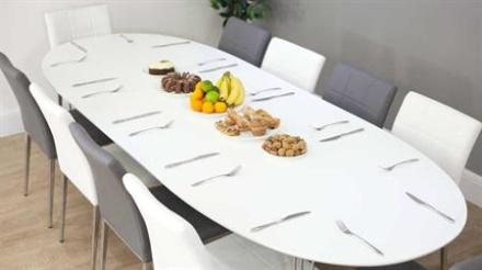 Belina spisebord hvid med plader