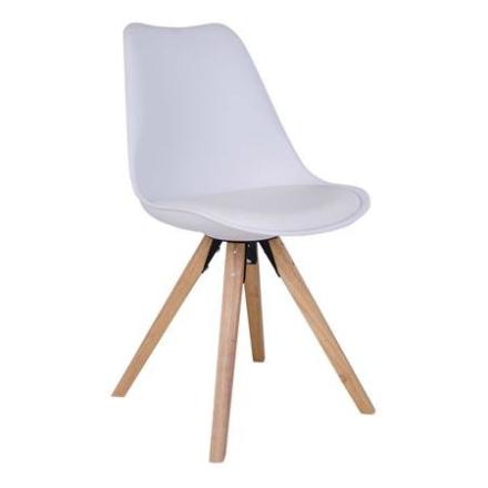 Mille stol hvid med massive ben - sidste