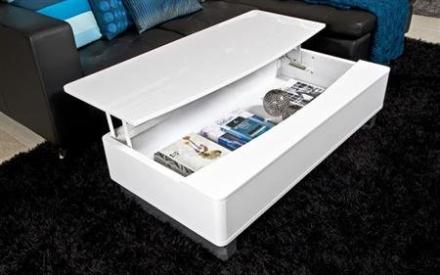 Perry sofabord hvid højglans med opbevaring