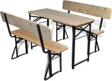 vidaXL Hopfällbart ölbord med 2 bänkar 118 cm granträ